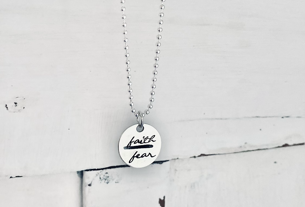 Faith over fear sterling silver necklace READY TO SHIP
