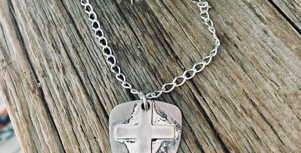 Rustic Cross Shield Necklace