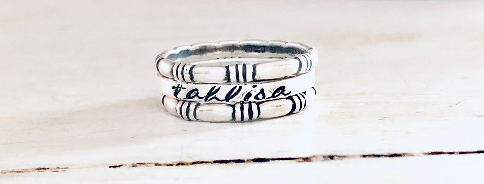 RING SET : Personalized Skinny Ring with 2 triple stripe rings