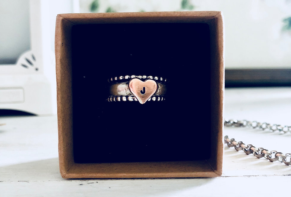 Ring Set-1 Copper Heart Initial Ring and 2 Bead Stack Rings