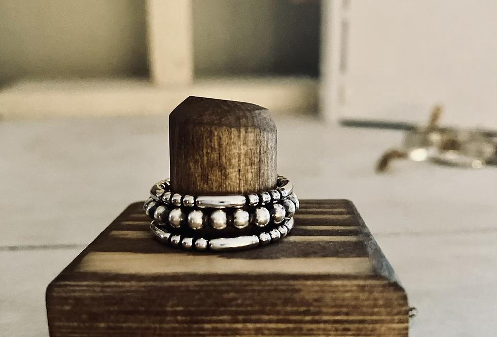Simple Bead Stacking Ring Set Size 8