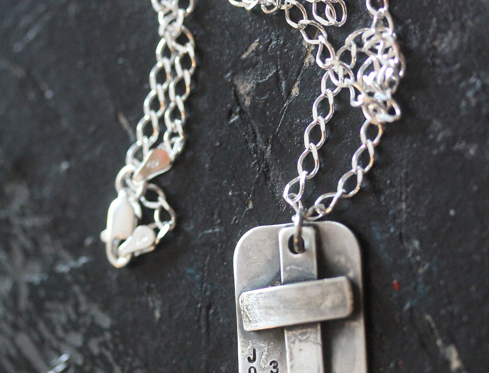 Wide Band Cross Necklace