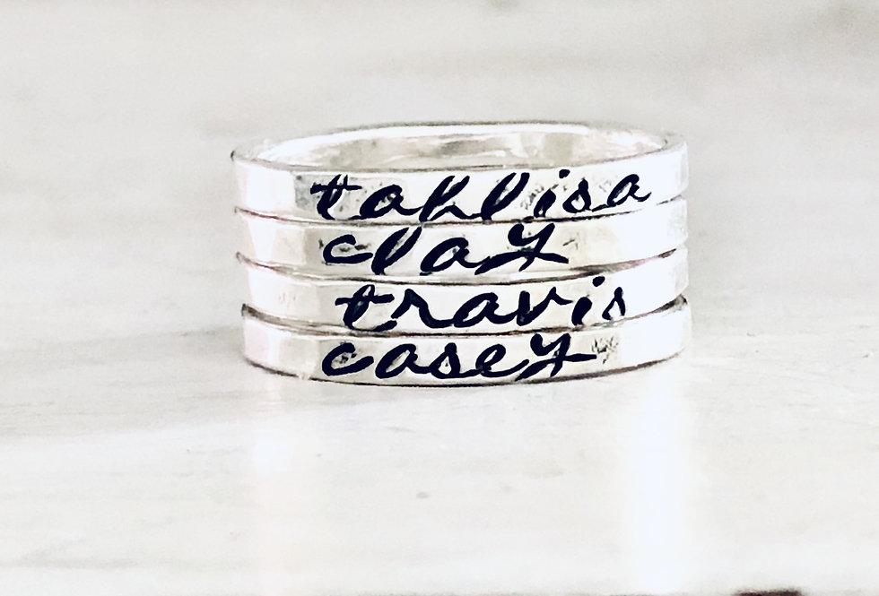 Personalized Stack Ring - Set of 4 - Hammered