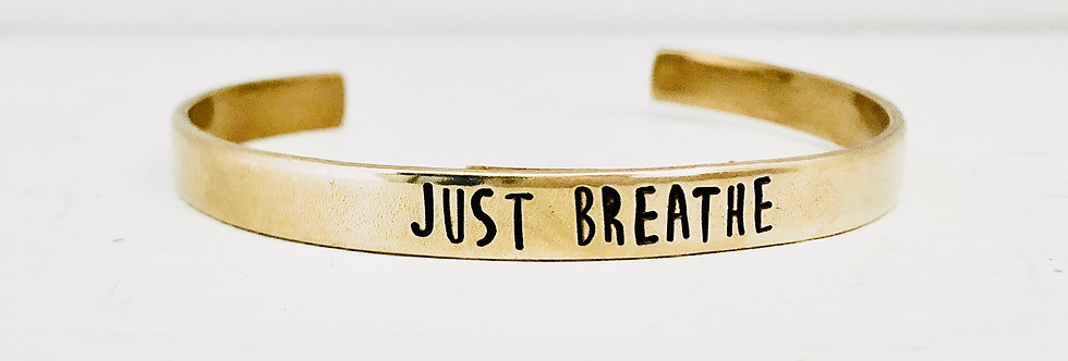 Just Breathe simple brass cuff (ready to ship)