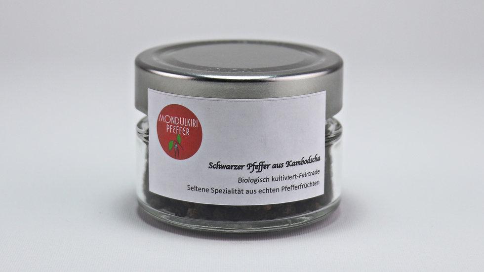 Echter schwarzer Mondulkiri Premium Pfeffer im Glas