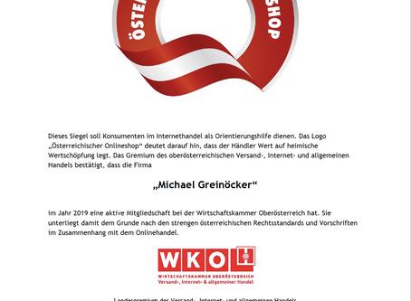 Unsere Urkunde zum österreichischen Onlineshop