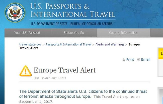 ΤΩΡΑ: «Travel Alert» του State Department για ολόκληρη την Ευρώπη και εν όψει καλοκαιριού