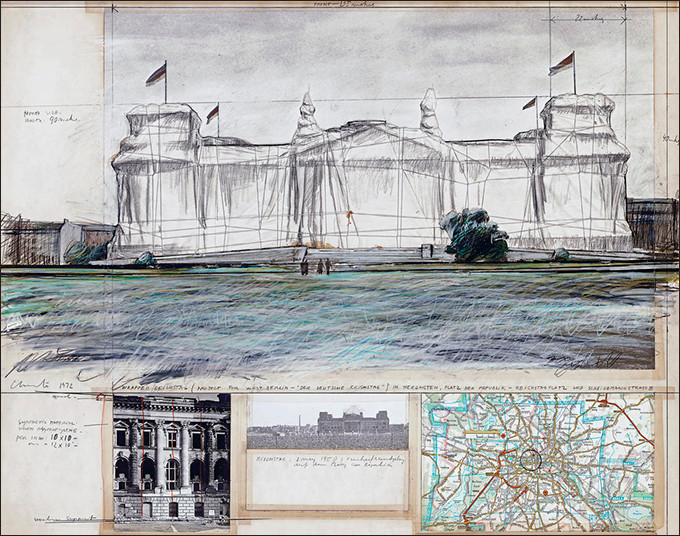"""Christo Wrapped Reichstag (Project for West Berlin - """"Der Deutsche Reichstag"""") Collage 1972 22 x 28"""" (56 x 71 cm) Pencil, charcoal, pastel, wax crayon, fabric, staples, photographs, map and tape Private collection Photo: Archive © 1972 Christo"""