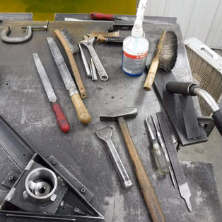 It takes twice as long to detail a bench frame as it does to weld it. These are the tools of detail.