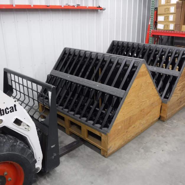Bench frames back from powder coating.
