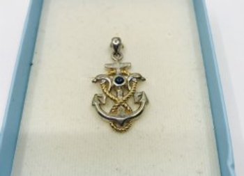 14 Carat Gold and Sterling Silver Nautical Pendant