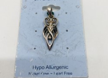 Celtic Pendant with Black Tourlamine and Silver Overlay