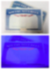 Black Light reveals authentic red watermark on Social Security Card thanks to Security Ink