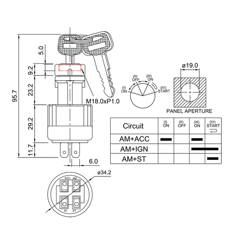 ignition starter switch/drawing of FE-A1116