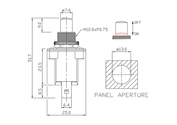 push button switch/drawing of FE-A1223