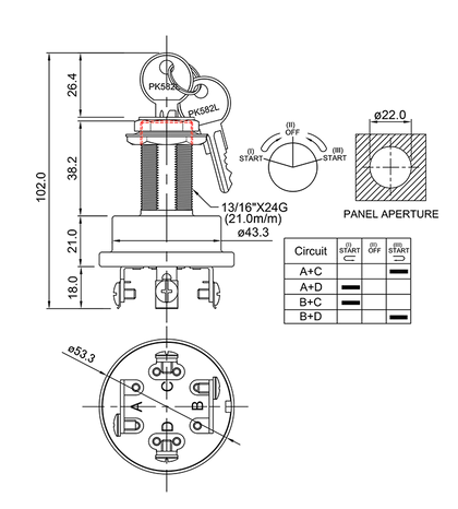 ignition starter switch/drawing of FE-A1133