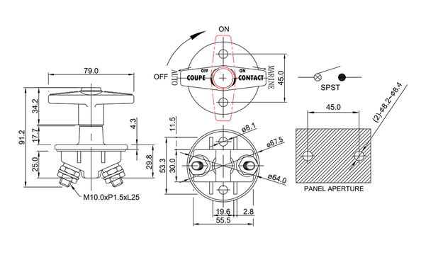 battery isolation switch/drawing of FE-A3604