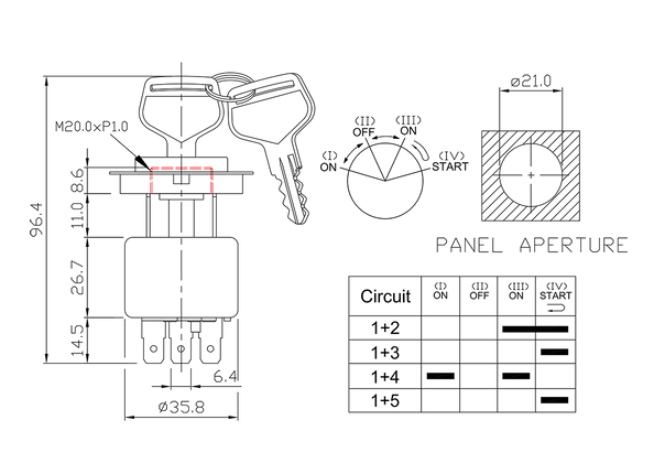 ignition starter switch/drawing of FE-A1119