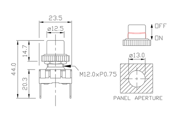 push button switch/drawing of FE-A1219C