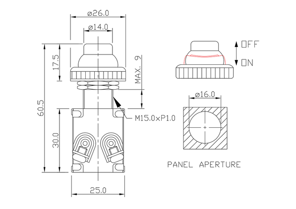 push button switch/drawing of FE-A1222