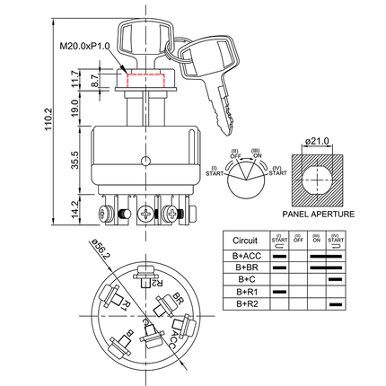 ignition starter switch/drawing of FE-A1125