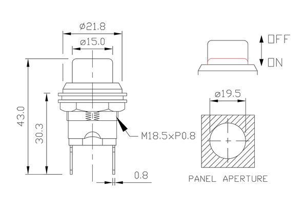 push button switch/drawing of FE-1230