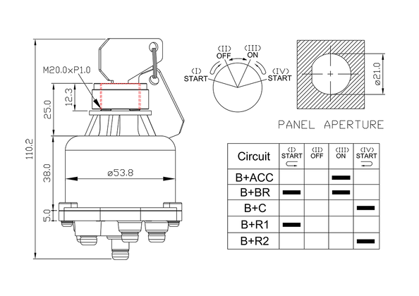 ignition starter switch/drawing of FE-A1123