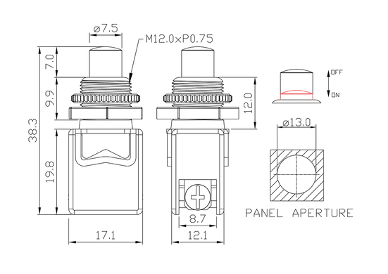 push button switch/drawing of FE-A1228