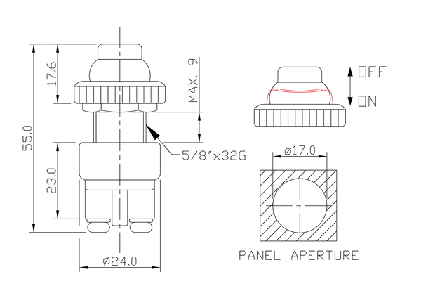 push button switch/drawing of FE-A1210