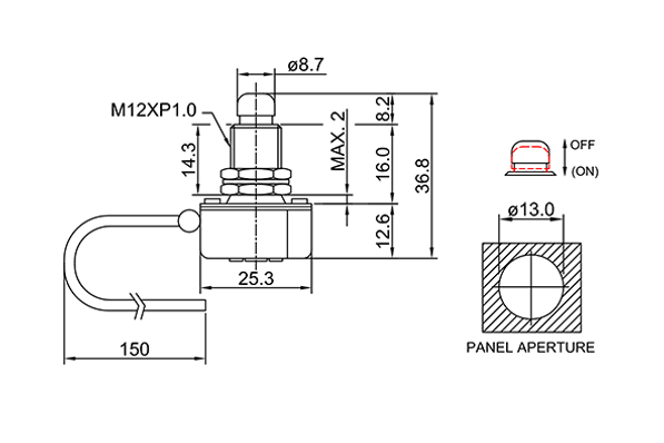 push button switch/drawing of FE-A1221
