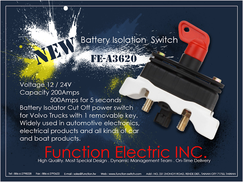 New product FE-A3620/battery isolation switch for Volvo