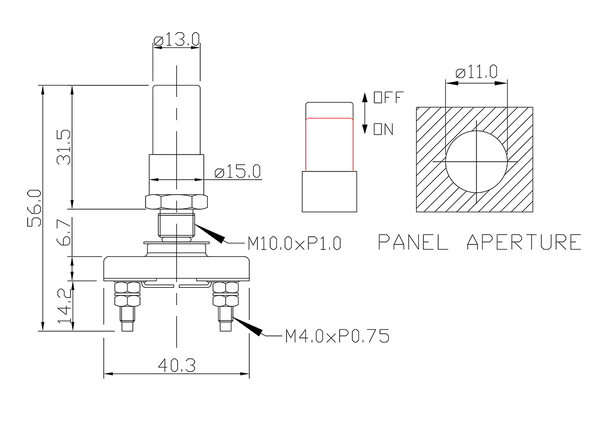 push button switch/drawing of FE-1225