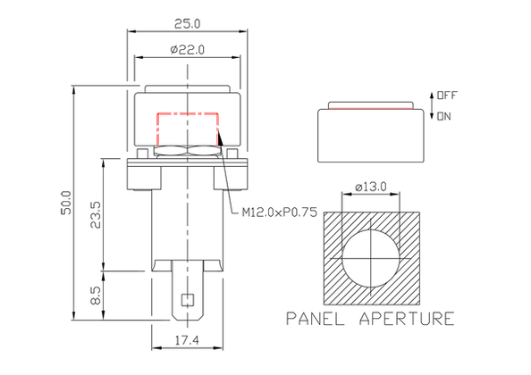 push button switch/drawing of FE-A1212