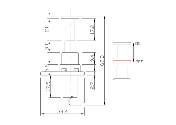 push button switch/door light switch/drawing of FE-A1229