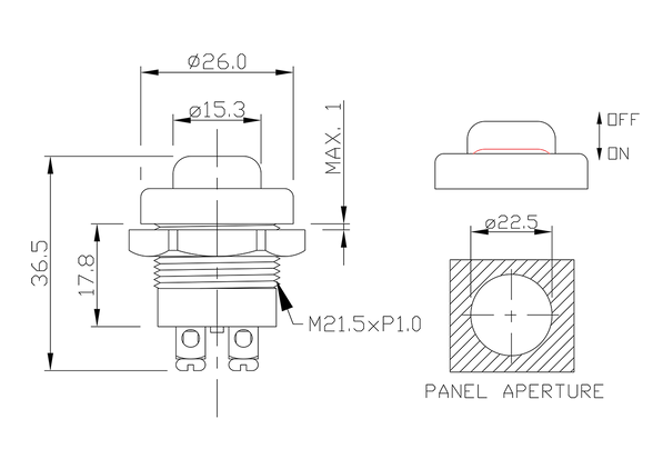 push button switch/drawing of FE-A1213