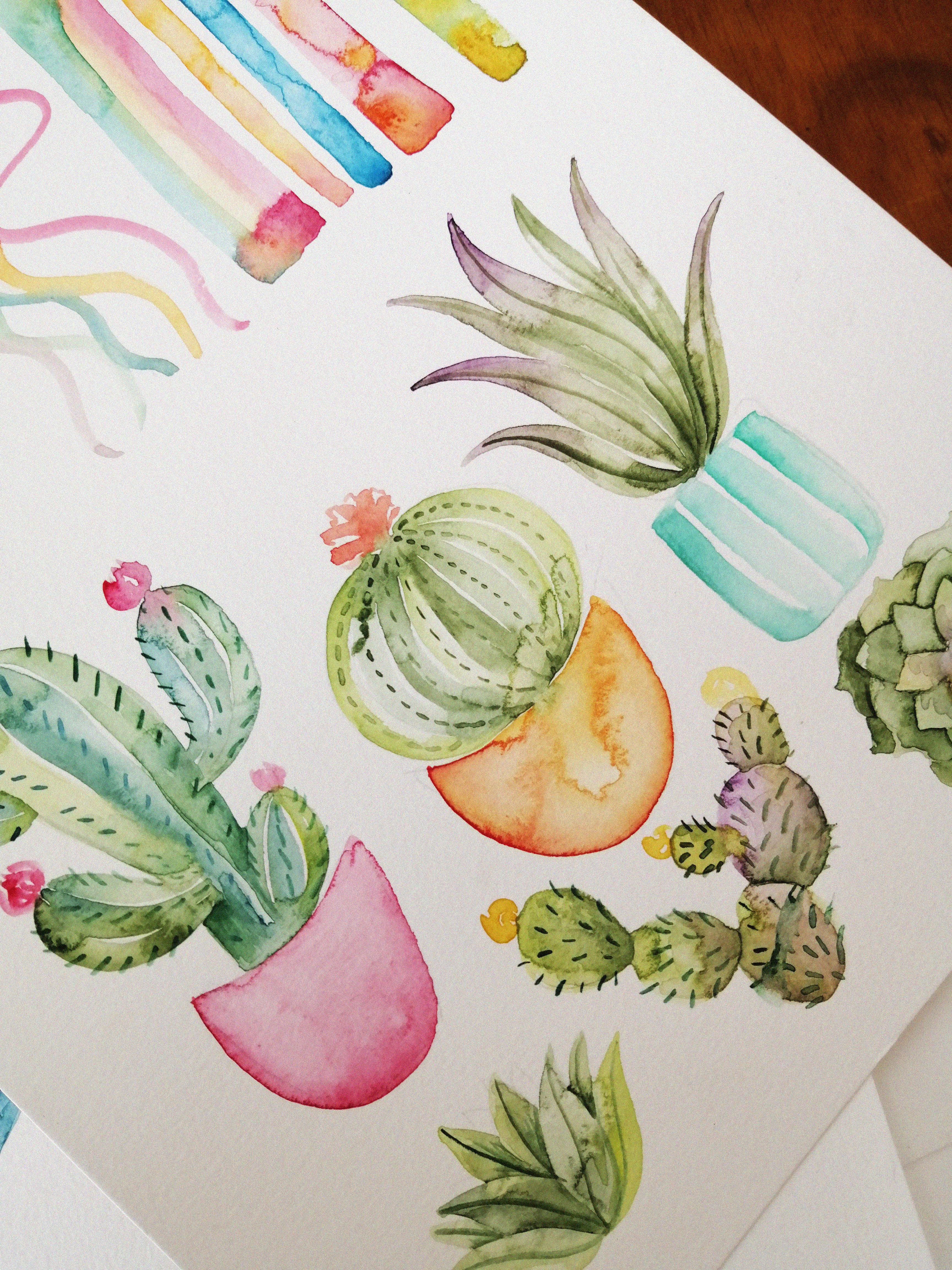 Plantas y cactus con acuarela