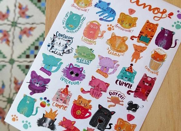 Planilla de stickers Mininos
