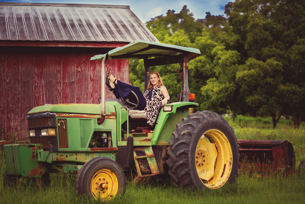 Just a lady on her tractor