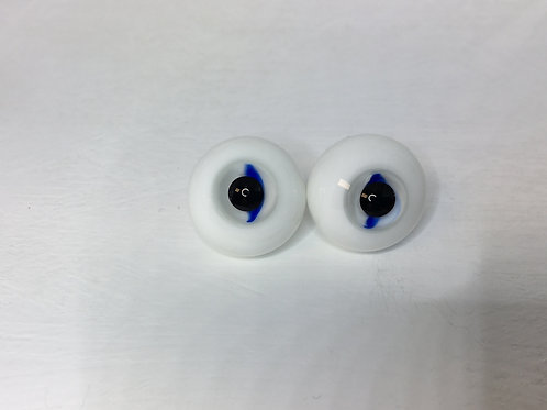 Clear/Blue Iris Full Round Glass Doll Eyes 20mm