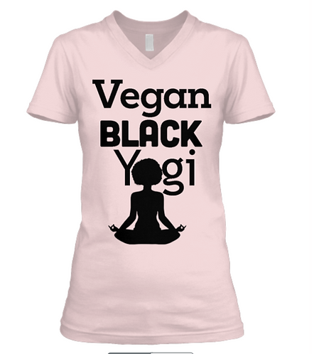 Vegan Black Yogi V-Neck Comfort Tee