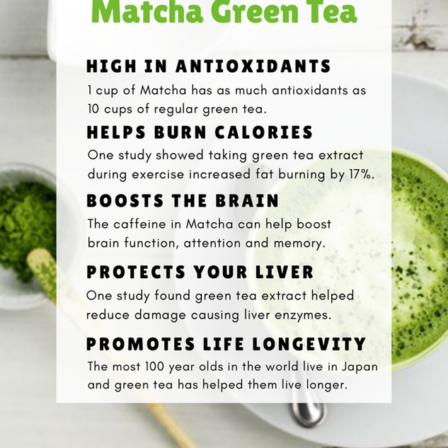 Health benefits of Match green tea infographic