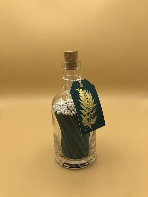 Green Fern Glass Bottle of Candle Matches