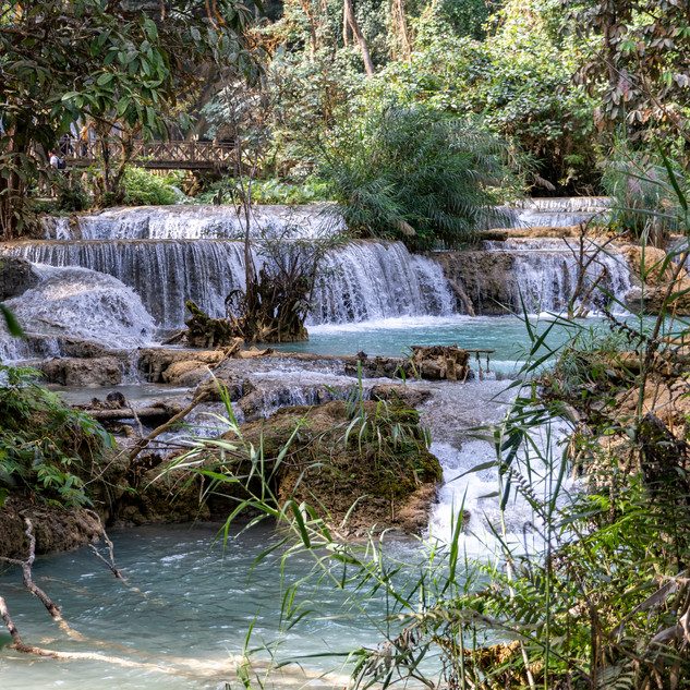Kuang Si waterfall flowing spectacularly in Luang Prabang, Laos throughout the day.