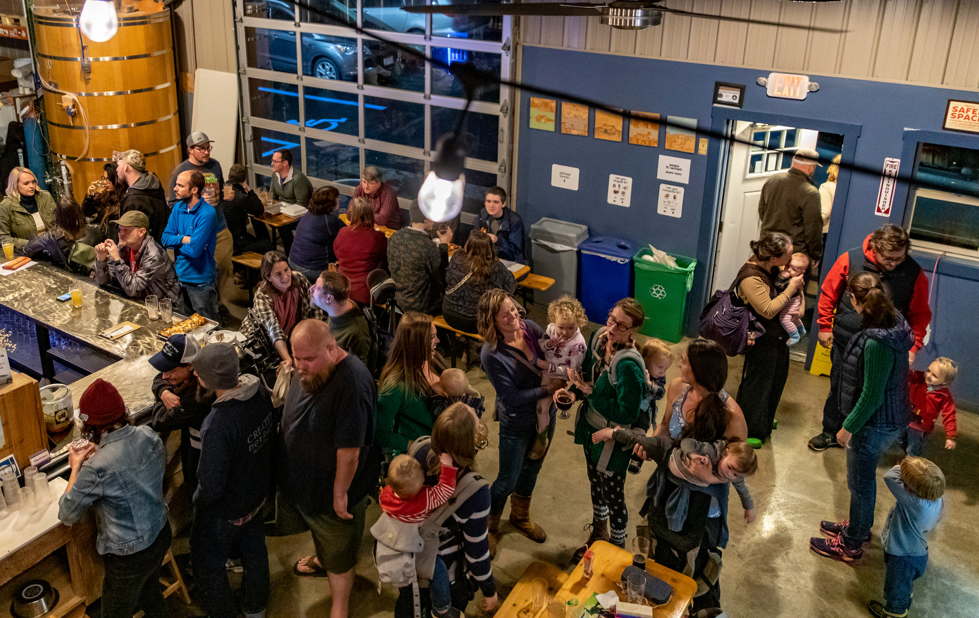 Alumni enjoy Homecoming Weekend while parents enjoy a kids birthday party at Little Fish Brewery on October 20, 2018. Audiences like alumni and parents with kids show how Little Fish caters to a variety of people.