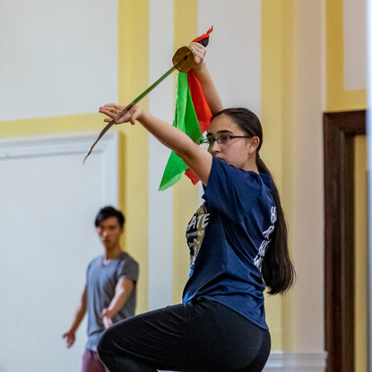 Bryanna Geiger practices broad sword in a weekly wushu practice on Columbia University's campus in New York City on May 5, 2018.