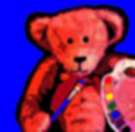 Cute teddy bear with a paint brush