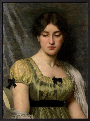 Poster Frau mit grünem Kleid