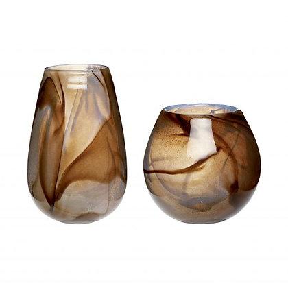 Vasen Set Glas mundgeblasen Amber