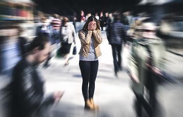 Panic attack in public place. Woman havi