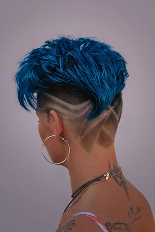blossom blue with patterned undercut